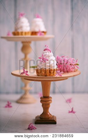 Cake Basket With Cream And Spring Hyacinth Flowers