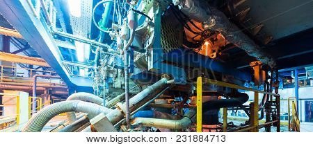 Close Up Of Modern Operational Plant Equipment With Pipe System Heavy Industry Machinery Metalworkin
