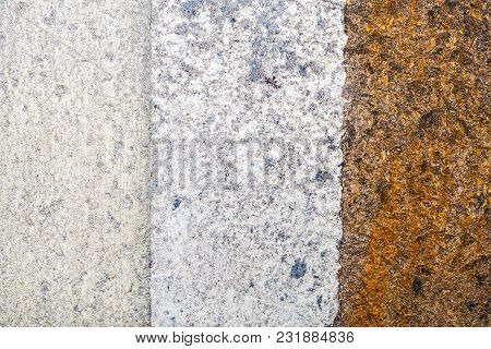 Brown And White Messy Wall Stucco Texture Background. Decorative Wall Paint.