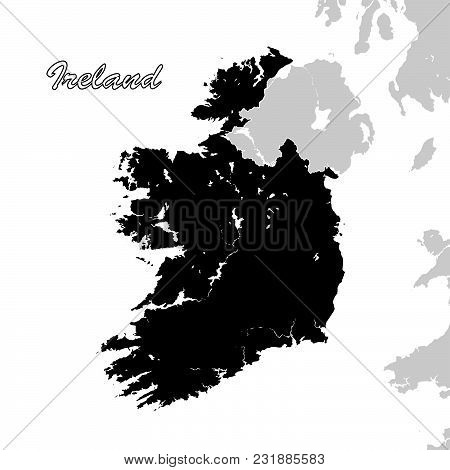 Ireland Political Sihouette Map. Black And White Vector Graphic