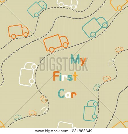 Seamless Cute Color Trucks Icons, My First Car Pattern Vector On Color Background