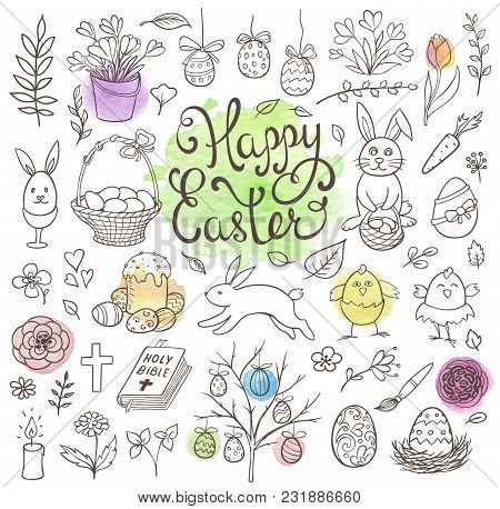 Set Of Decorative Hand Drawn Easter Doodle Elements For Design. Vector Kit With Watercolor Texture.
