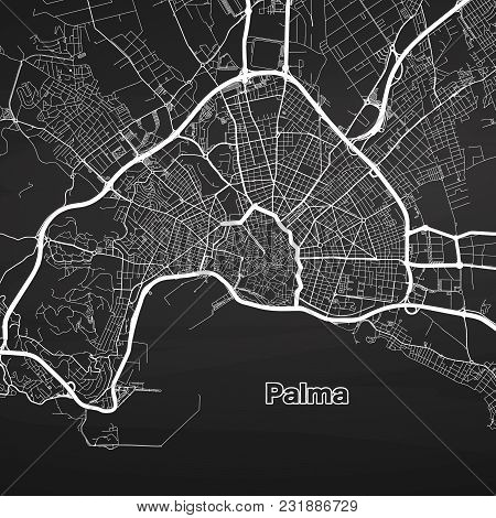 Palma De Mallorca Urban Vector Map. White Highways And City Streets On Black Background.