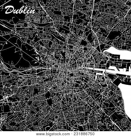 Dublin Ireland City Map Black And White. Abstract Vector Graphic With Highways, Roads And Smaller Ci