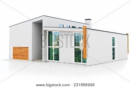 3d modern high rise building on white background 3D illustration