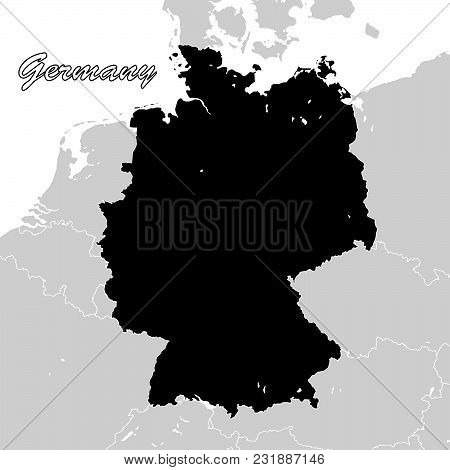Germany Political Sihouette Map. Black And White Vector Graphic