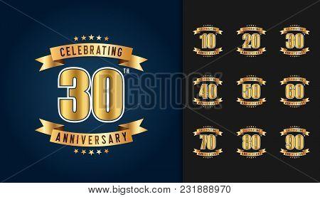 Set Of Anniversary Logotype. Golden Anniversary Celebration Emblem With Ribbon Design For Booklet, L