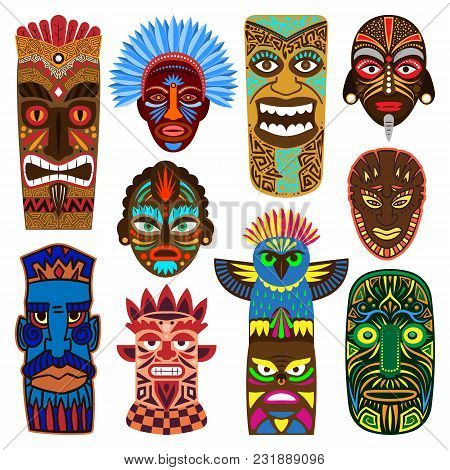 Tribal Mask Vector Masking Ethnic Culture And Aztec Face Masque Illustration Set Of Traditional Abor