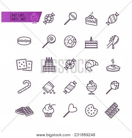 Candy, Cakes, Cookies, Sweet, Ice Cream, Food Outline Icons Set For Your Design