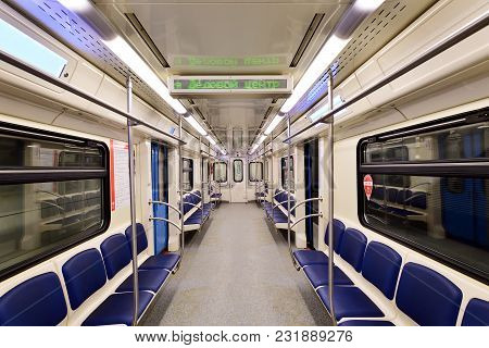 Moscow, Russia - March 17. 2018. Empty Metro Car At The Station Delovoy Mir