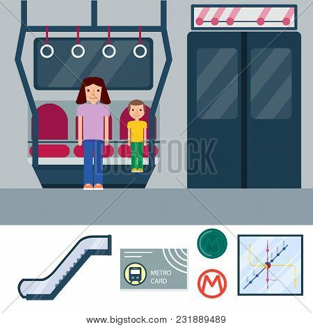 Metro Station Vector Illustration. Transportation Modern Railroad Trip Transit Tunnel Vehicle Servic