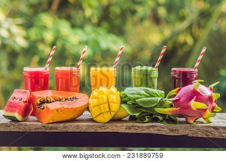 Rainbow From Smoothies. Watermelon, Papaya, Mango, Spinach And Dragon Fruit. Smoothies, Juices, Beve