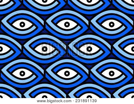 Seamless Eye Pattern. Impossible Figure On Blue Background.