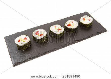Sushi Isolated On Shale Food Board On White Background.
