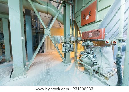 Modern Operational Plant Equipment With Some Bag Of Chemicals Heavy Industry Machinery Metalworking
