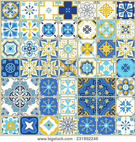 Seamless Pattern With Portuguese Tiles. Vector Illustration Of Azulejo On White Background. Mediterr
