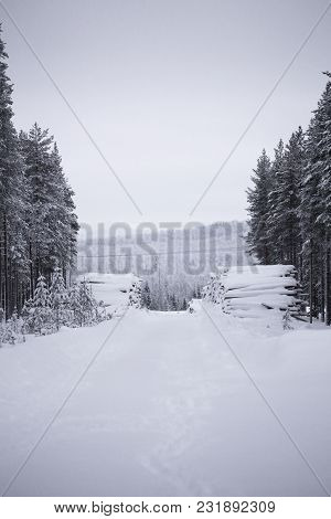 Uncleared Snowy Road In Vaesterbotten, Sweden With Heaps Of Wood