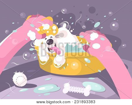 Bathing Dog In Basin With Water. Doggie Washing, Vector Illustration