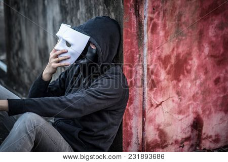 Mystery Man Wearing Hoody Jacket Take Of The Mask Showing Another Mask Under It, Depression Self Des