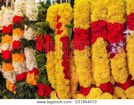 Flower Garlands For Hinduism And Buddhism Religious Ceremony, Selective Focus