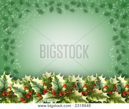 Christmas Holly Leaves Border Design
