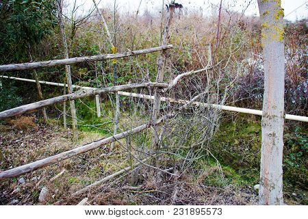 Wooden Fence Or Decorative Wooden Fence. A Fence Of Wood.