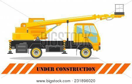 Detailed Illustration Of Aerial Platform Truck. Heavy Construction Machine. Heavy Equipment And Mach