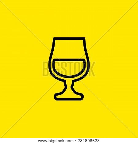 Icon Of Cognac Glass. Hard Liquor, Brandy, Whiskey. Whiskey And Bar Concept. Can Be Used For Topics