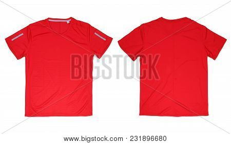 Front And Back Red Running T-shirt On White Background, Isolated Red Sport Shirt