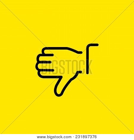 Line Icon Of Hand Showing Thumb Down Gesture. Disliking, Denial, Disapproval. Gesture Concept. Can B