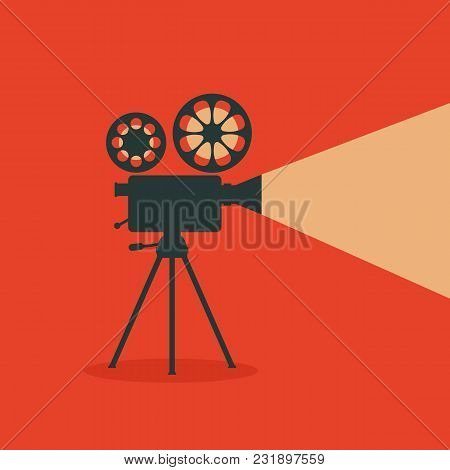 Retro Cinema. Retro Film Projector. Vector Illustration