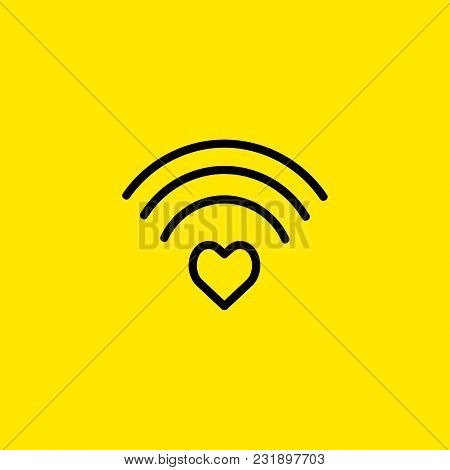 Icon Of Heart Shaped Wifi Sign. Wireless, Connection, Love. Modern Technology Concept. Can Be Used F