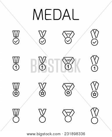 Medal Related Vector Icon Set. Well-crafted Sign In Thin Line Style With Editable Stroke. Vector Sym