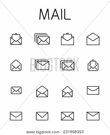 Mail Related Vector Icon Set. Well-crafted Sign In Thin Line Style With Editable Stroke. Vector Symb