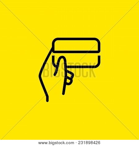 Icon Of Human Hand Holding Credit Card. Money, Banking, Payment. Finance Concept. Can Be Used For To