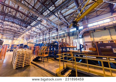 Modern Operational Plant With Stocks Of Pallets Heavy Industry Machinery Metalworking Workshop Conce