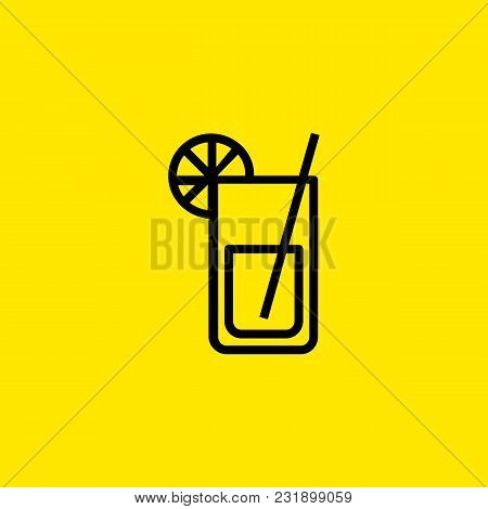 Icon Of Lemonade. Mojito, Straw, Citrus. Cocktail And Celebration Concept. Can Be Used For Topics Li