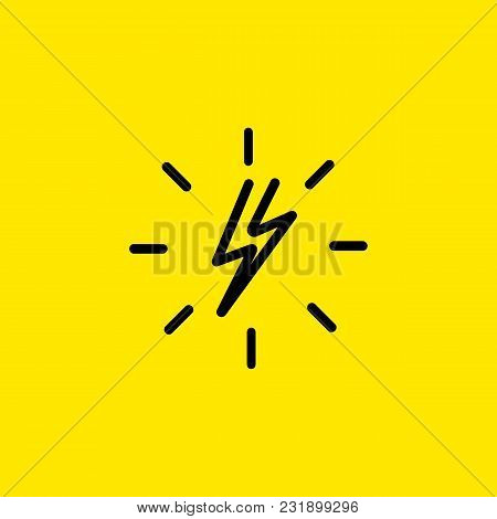 Line Icon Of Lightning Bolt With Halo. Electricity, Voltage, Danger. Energy Concept. Can Be Used For