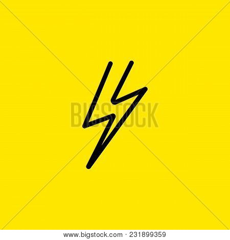 Line Icon Of Lightning. Thunderbolt, Voltage, Danger. Electricity Concept. Can Be Used For Signboard