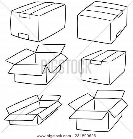 Vector Set Of Box Hand Drawn Cartoon