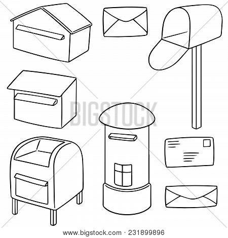 Vector Set Of Postbox Hand Drawn Cartoon