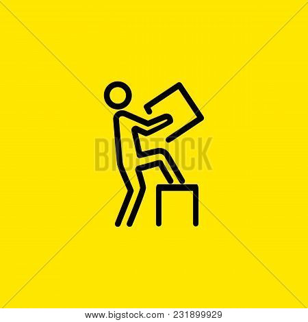 Line Icon Of Man Carrying Box. Delivery Man, Postman, Porter. Delivery Concept. Can Be Used For Topi