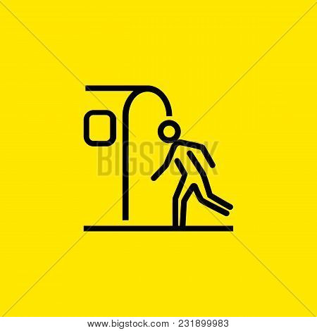 Line Icon Of Man Entering Subway. Exit, Underpass, Bus Station. Transport Concept. Can Be Used For T