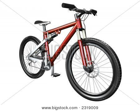 3D Mountain Bike On White Front