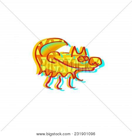 Vector Cartoon Wolf Character Isolated On White. Forest Funny Wolf Flat Icon. Crazy Wolf Character I
