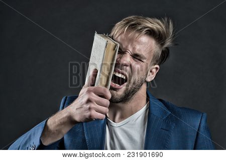 Angry Businessman Shout With Book, Knowledge. Man Beat Face With Book, Motivation. Motivation, Power