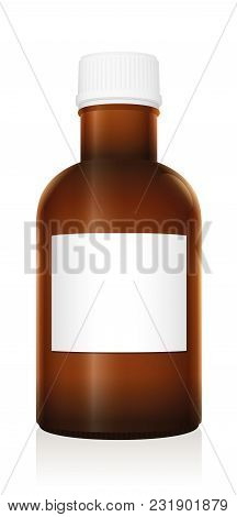 Medicine Bottle. Dark Brown Glass Vial With Blank Label And Closed White Plastic Screw Cap - Isolate