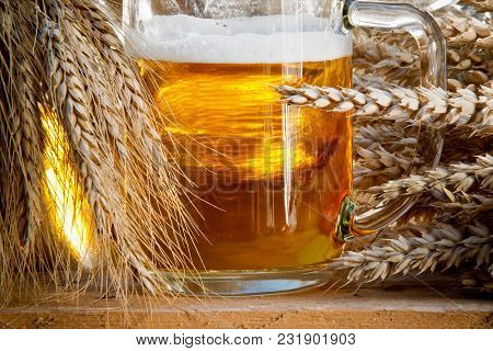 Beer Glass And Raw Material For Beer Production In The Nature,