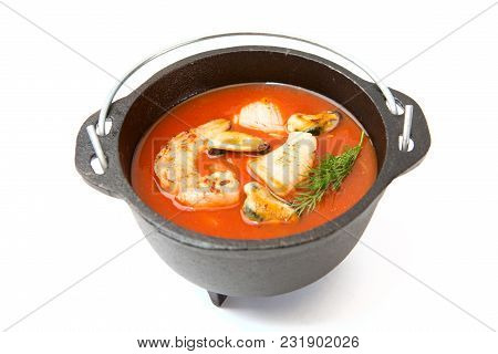 Bowl Of Spicy Seafood Soup At A Chinese Restaurant.
