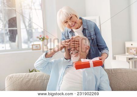 Gift With Love. Petite Senior Woman Covering The Eyes Of Her Husband And Making A Surprise For Him,